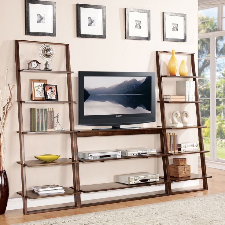 Riverside Furniture Lean Living Leaning TV Stand With 2 Shelves   Value  City Furniture   TV