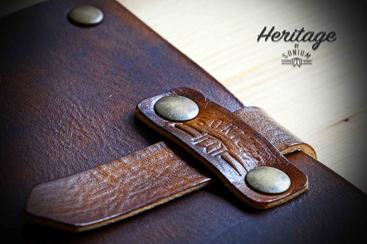 """SONIUM LEATHER""  Detail of Notebook Cover with old vintage leather"