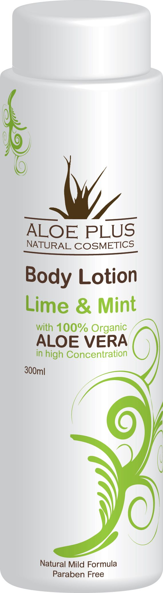 Aloe Plus Body Lotion 300ml with 100% Organic Aloe Vera (Lime & mint)