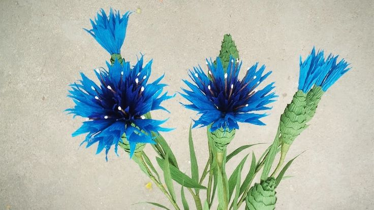 How To Make Cornflower From Crepe Paper - Craft Tutorial