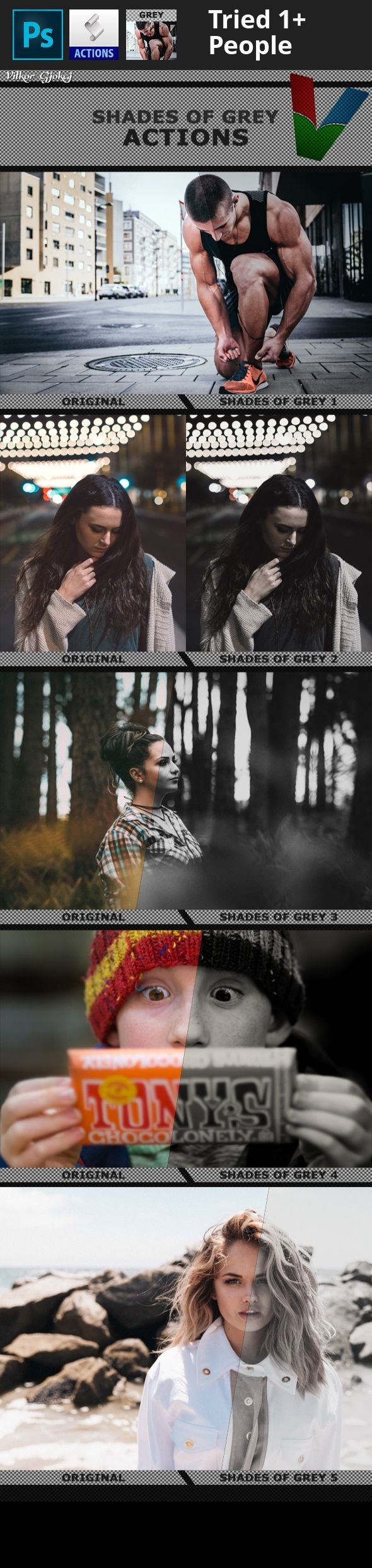 5 shades of grey, action, before and after images, camera, design filters, Fifty Shades of Grey, fit, graphic art, gray, hot, models, movies, new, photo effect, photoshop actions, professional photography, stock images, trend   5 Shades of Gray Photoshop Actions 1  	The actions are for the best graphic designers and Photographers, with the only one 'play' click to the amazing colors, very easy for use, right organisation filters in one group, where you can adjust colors. Very observable...