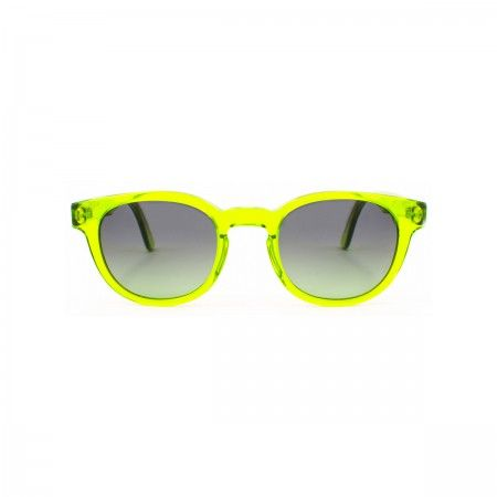 Rich Feller sunglasses with a lime green frame. Gradient green lenses.