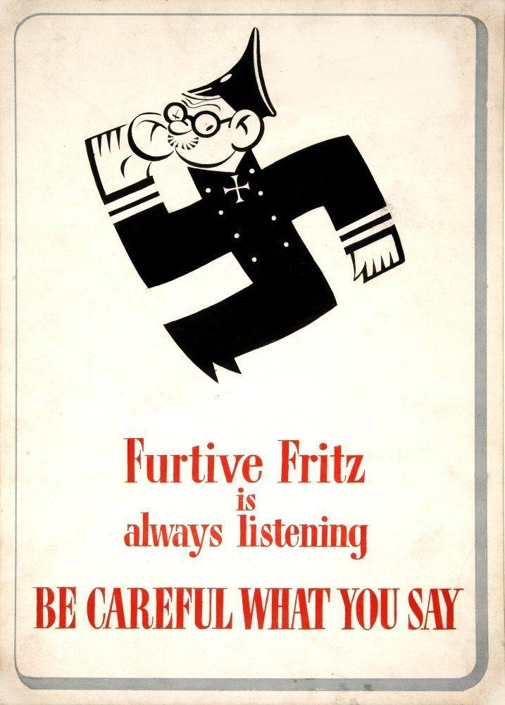 Vintage británica WW2 1939 a 45 Propaganda Furtivo Fritz siempre está escuchando . Ten cuidado con lo que dices, Reproducción sobre Calidad 200gsm de espesor en Cartel A3 Tarjeta Brillante: Amazon.es: Hogar