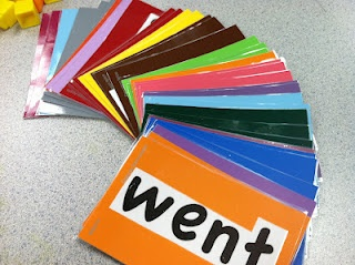using paint chip cards to back word wall words!!