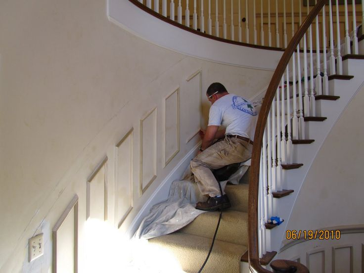 The chair rail is also a flexible molding and is a larger and slightly  different profile than the wainscoting molding we used.