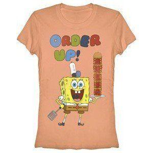 Spongebob Square Pants Order Up Juniors Peach T-shirt Tee @ niftywarehouse.com #NiftyWarehouse #Spongebob #SpongebobSquarepants #Cartoon #TV #Show