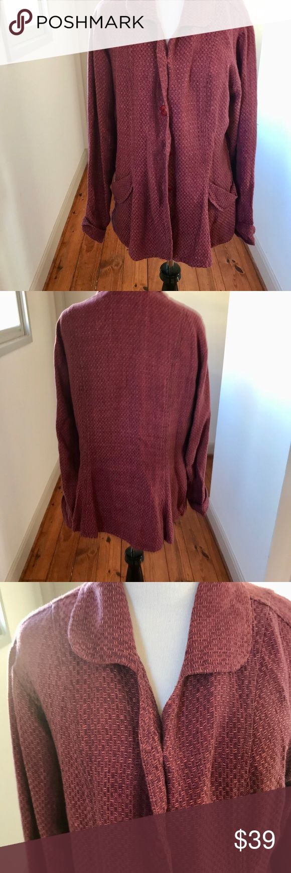 """Flax Linen Jacket Burgundy Sz Small Flax Linen Jacket . Light burgundy/wine. Size: small. Measurements: Length (shoulder to bottom edge):  26.5"""" Width (from under one arm to the other): 18.5"""". Sleeve: 21"""".  Design: solid, basket weave stitching. 5 button closure, 2 front pockets, collar. Fabric: 100% linen. Smoke Free Home. We Do Have Cats.  Pair this with a flowing skirt or a pair of jeans Flax Jackets & Coats Blazers"""