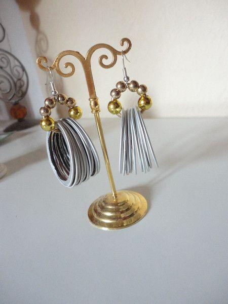Ohrhänger - grosse Creolen Fächer Ohrringe Kreis Nespresso  - ein Designerstück von shadisha bei DaWanda