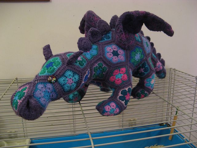 African Flower Crochet Dragon Pattern : Ravelry: purplewines Smaug the African Flower Dragon ...