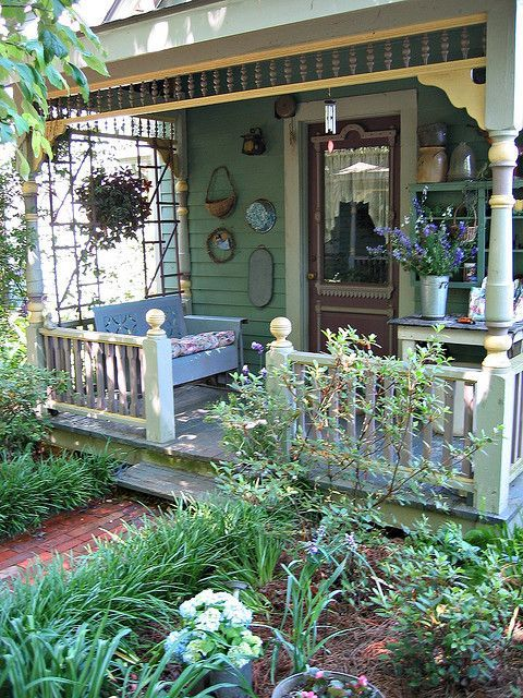 I love this entrance porch - would love to make one just the same..... Cecile's Garden by Pandorea..., via Flickr