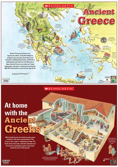 Click to download A colour poster showing a map of Ancient Greece and an illustration of a Greek household.