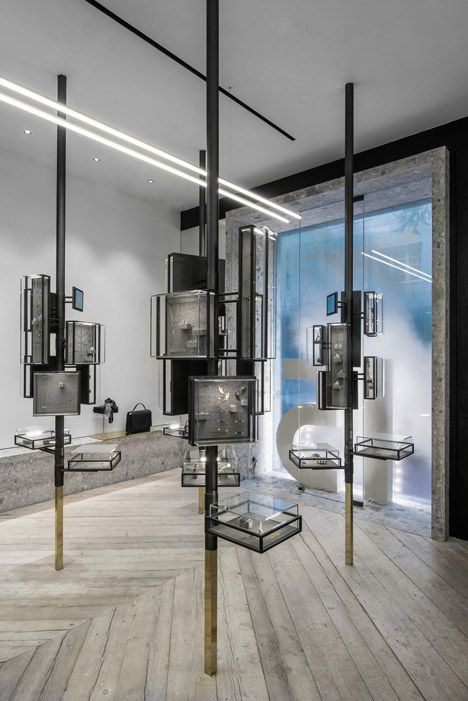 """Tree"" display cases and smoke in the shop window. Ileana Makri Store by Kois Associated Architects"