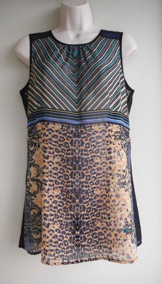 f953346e487d13 CAbi Top Size Small #565 Buchanan Striped Animal Print Black Blue Green  Brown