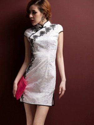 White Floral Short Qipao / Chinese Cheongsam Dress