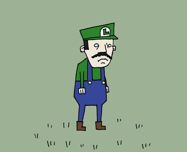 Sad Luigi in a Field