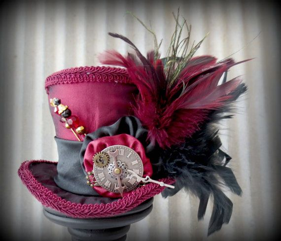 Oxblood and Black Steampunk Mini Top Hat, Alice in Wonderland Hat, Mad Hatter Hat, Clockwork hat, Tea Party Hat, cog and gear, Moulin Rouge