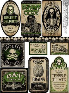 Poisonous Labels awesome. Get your Mod Podge out now and let's get our Halloween craft on!! Halloween printable - Halloween! Ghosts - Halloween Decor - Halloween ideas - labels - #halloween #printables #halloweendecor
