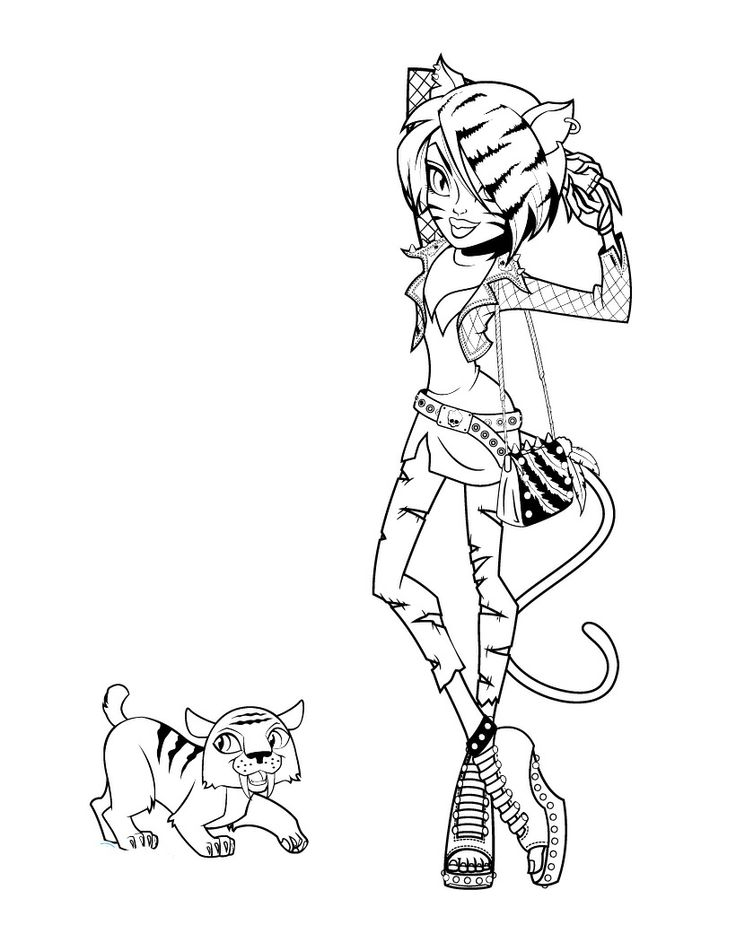 toralei stripe monster high and pet coloring page