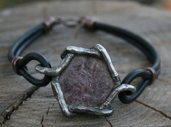 MEN BRACELET RUBY crystal leather cord cuff healing statement