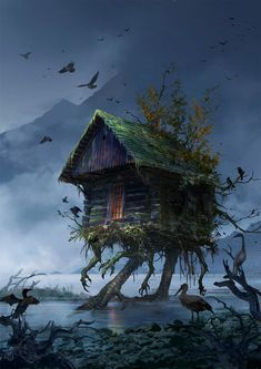 Photobash. Images used from photobash.org and pxhere.com Yeap, it's my take on Baba Yaga's house.