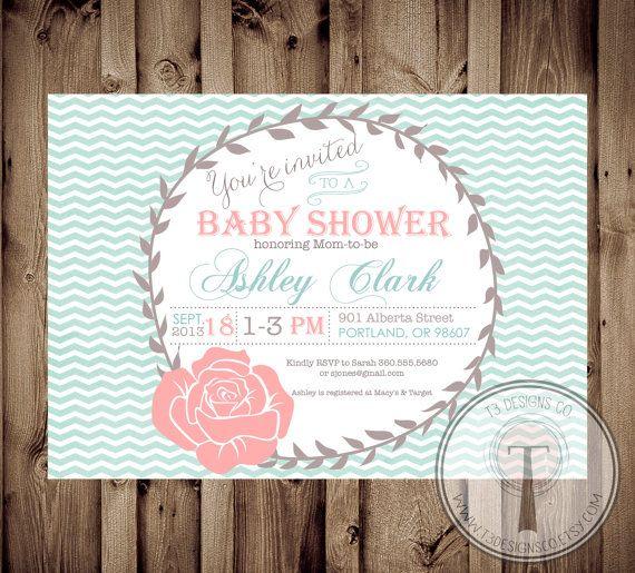 Baby Shower Invitation, BABY GIRL, Rustic, Vintage, Baby Shower,  Chevron,invite, Invitation, Baby Shower Brunch, Brunch, Rose, Roses, 1017