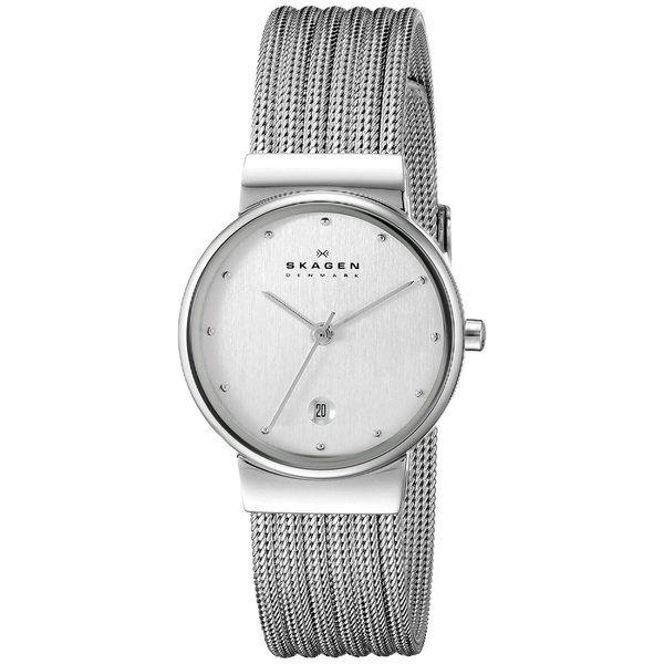 Skagen Women's 355SSS1 Silver Dial Watch with Stainless Steel Mesh Bracelet