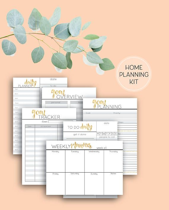Printable Planning Pages, Home Binder planning pages bundle in grey and gold, A4, A5 and DL size pages
