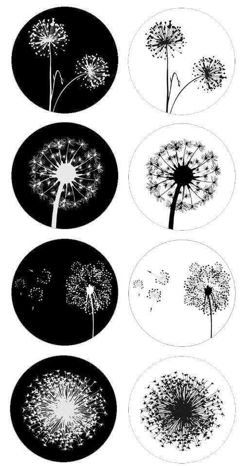 Dandelion V3 Bottlecap Images / Black and White Dandelions Silhouette Digital Collage / Printable 1-Inch Circles / Instant Download