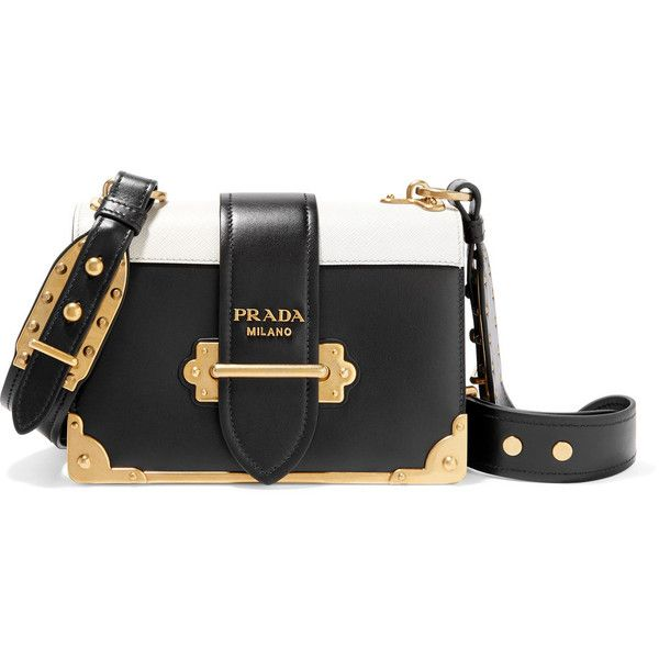 Prada Cahier small two-tone leather shoulder bag ($2,660) ❤ liked on Polyvore featuring bags, handbags, shoulder bags, black, shoulder strap bags, prada purses, real leather handbags, two tone handbags and leather purses