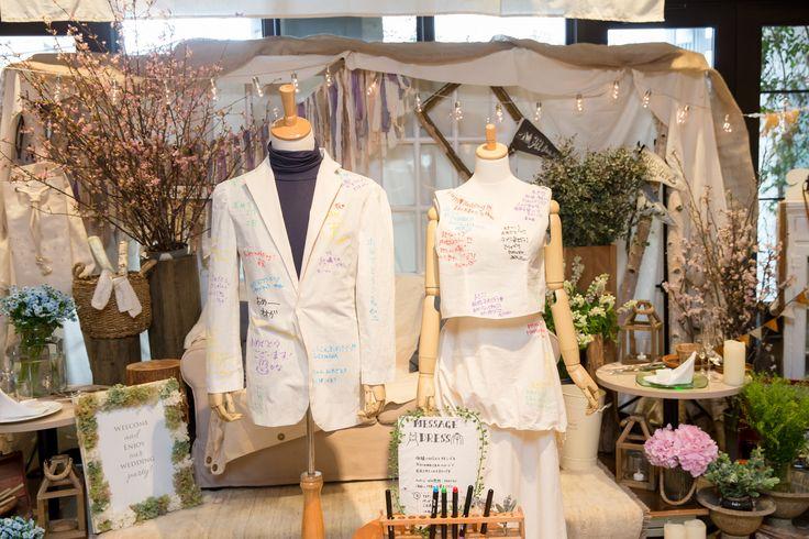 メッセージを集めた 手作りのドレスとタキシードの 仮縫い布  ブライダルプロデュースグレイス