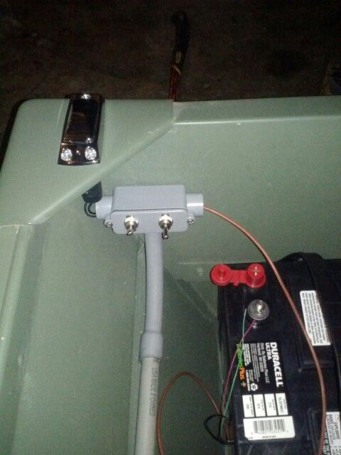 New lighting system on my Jon boat.  pvc conduit.  Individual light switches.