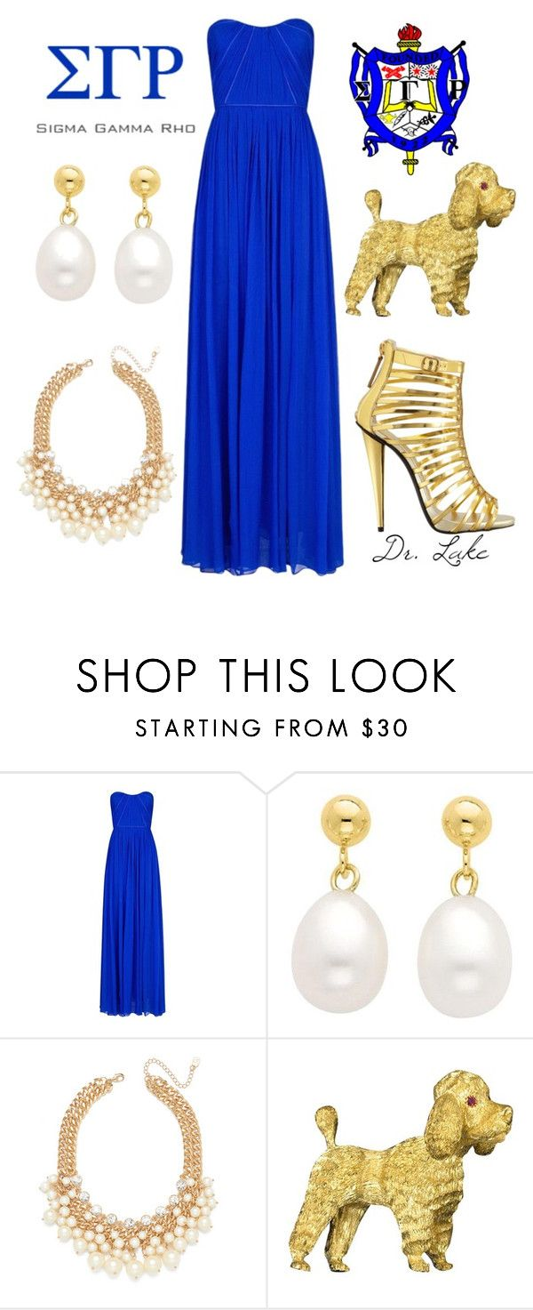 """Sigma Gamma Rho Sorority, Inc. - Poodles and Pearls"" by lake-bush ❤ liked on Polyvore featuring MANGO, Reeds Jewelers, Buccellati and Giuseppe Zanotti"