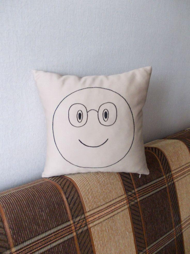 Geekery cotton pillow Smile embroidered pillow embroidery pillow anniversary gift  Smiley Smiley face geekery pillow cocoa pillow (25.00 USD) by PillowsRollanda