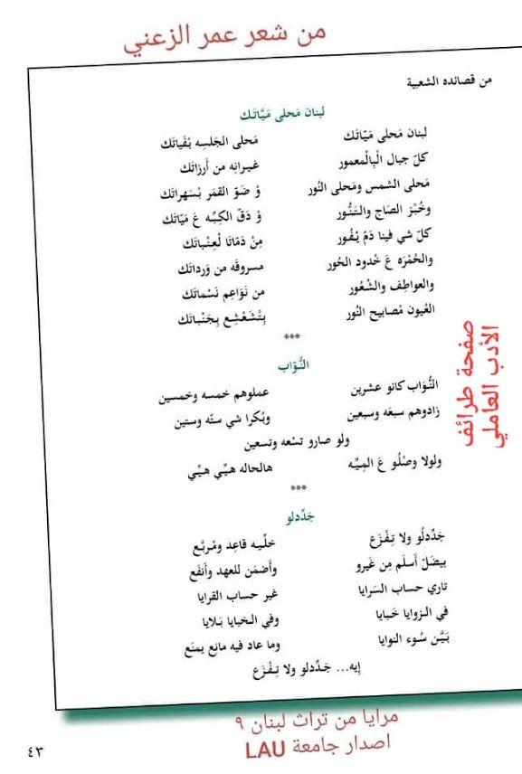 مدونة جبل عاملة في الزوايا خبايا شعر عمر الزعني Blog Blog Posts Post