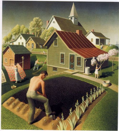 Spring in Town, 1942, oil painting // by Grant Wood