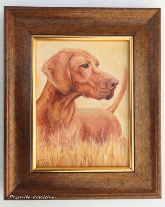 Hungarian Vizsla Pointer in the field DOG PORTRAIT, Miniature oil PAINTNG on canvas, Little hunting scene Framed Artwork, Small Original Art  #dog #portrait  #painting