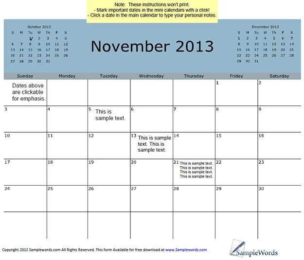 November 2013 Calendar With 3-Month View