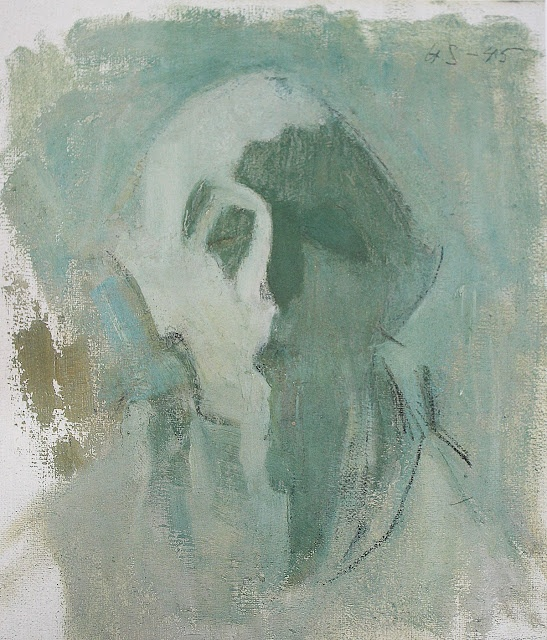 """Helene Schjerfbeck: Green Self Portrait """"Lights and Shadows"""" (1945)"""