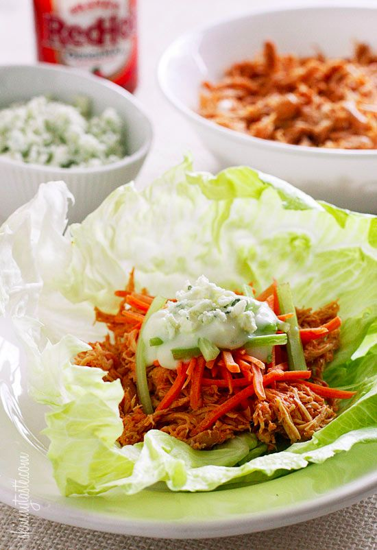 You must have this Skinny Crock Pot Buffalo Chicken Lettuce Wraps recipe!!! |skinnytaste.com