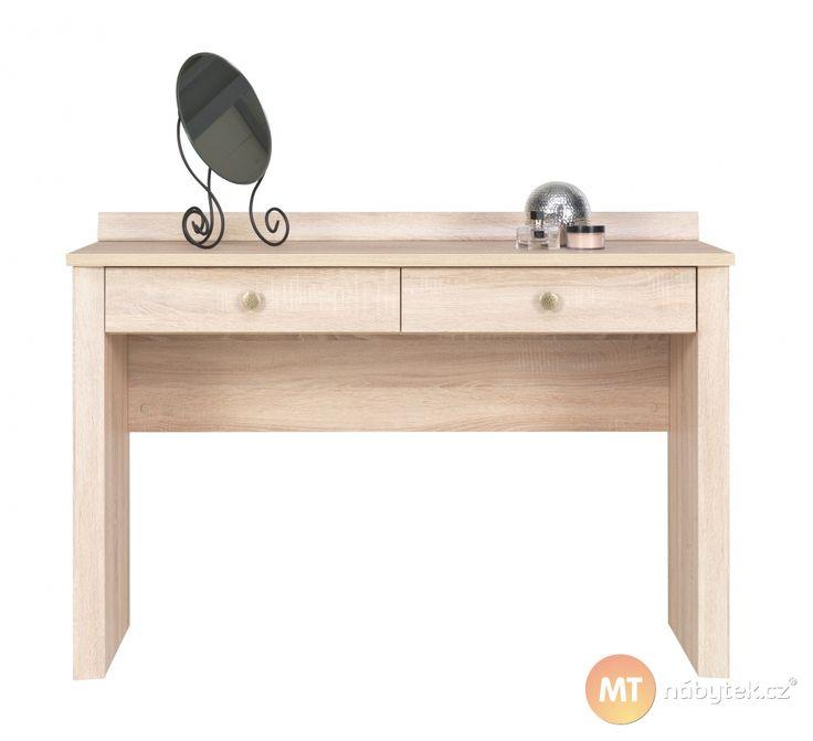 Moderní toaletní stolek do ložnice ocení při úpravě zevnějšku každá žena. Úložný prostor na toaletní potřeby či šperky poskytují dvě pojízdné zásuvky.