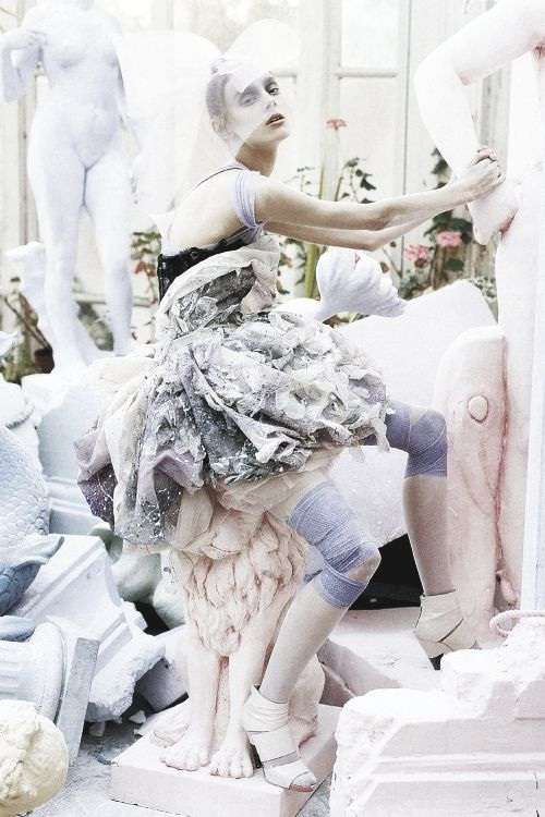 A Magic World by Tim Walker from Italian Vogue. Light pastels. If only the world could look like this.