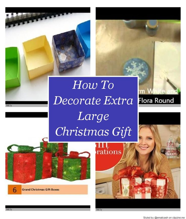 Discover how to decorate extra large Christmas gift boxes. You don't want your Christmas gift boxes to be just the plain gifts under the Christmas tree. Add that special something to each gift box. |