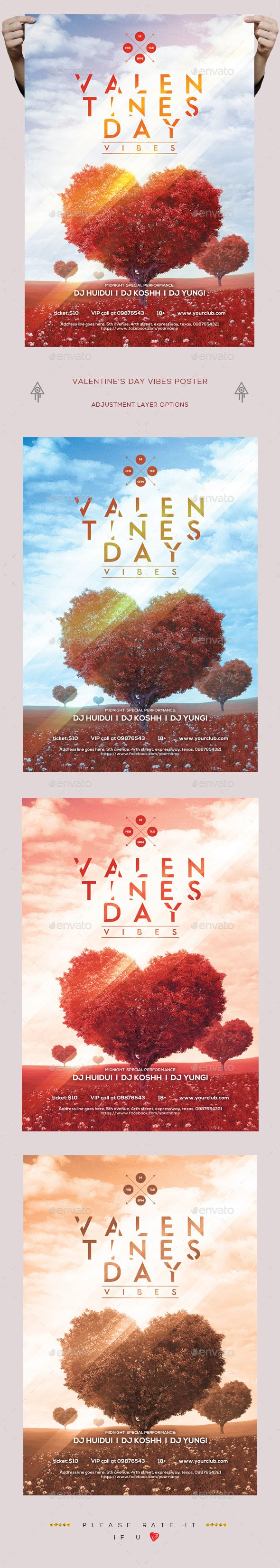Valentines Day Party Poster / Flyer Template PSD