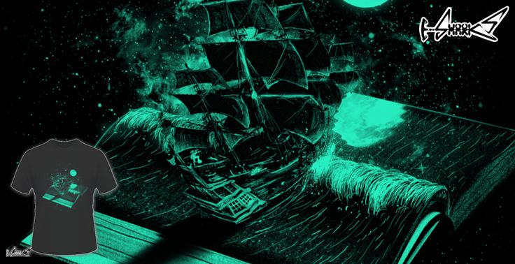 T-shirts - Design: Crossing The Rough Sea of Knowledge - by: nicebleed