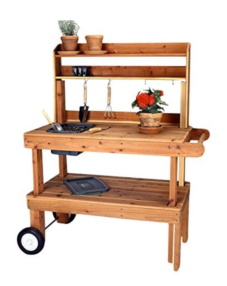 Potting bench with wheels. Salish Cedar Western Garden Cart Heavy Duty. ~ Amazon $637