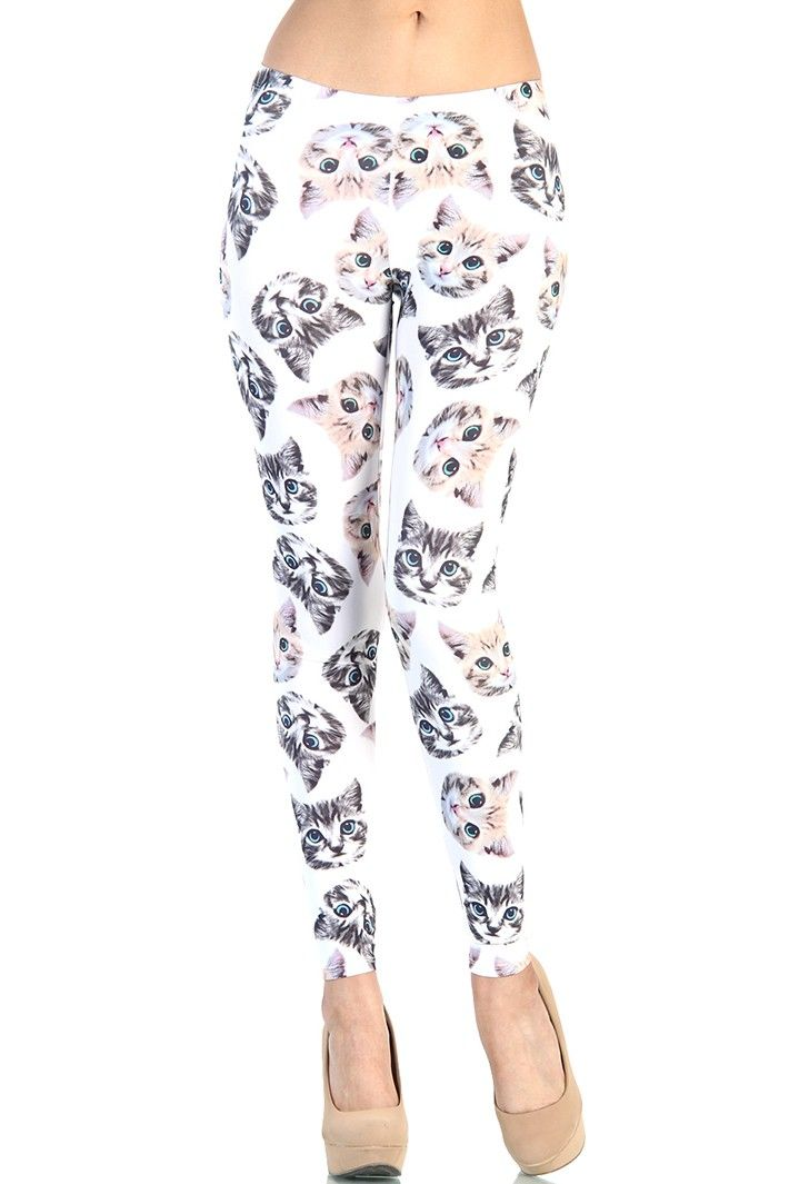 Kitten Cat Leggings - White sz L