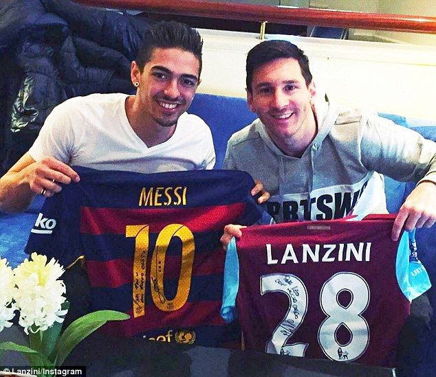 West Ham attacker Manuel Lanzini strikes a pose with Barcelona legend Lionel Messi