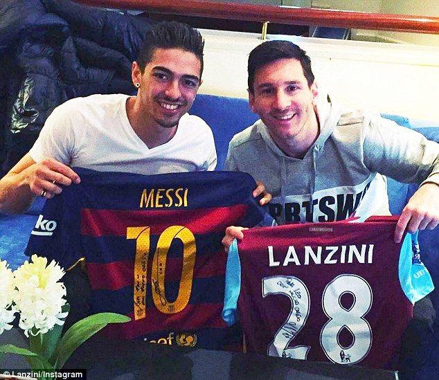 West Ham attacker Manuel Lanzini strikes a pose with Barcelona legend Lionel Messi