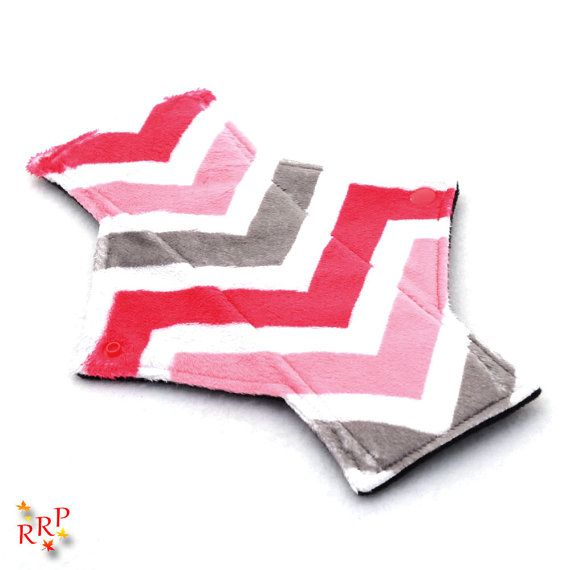 "9"" Light Day Zig Zag Watermelon Charcoal Minky backed with premium WindPro Fleece Cloth Menstrual Pad, Mama Cloth, Cloth Pad, Reusable Pad"