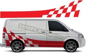 XL VW T4 / T5 racing stripe / flag graphics, to suit both the short and long wheelbase Transporter